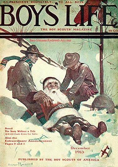 Portada de Norman Rockwel da revista dos boy scouts, 1913