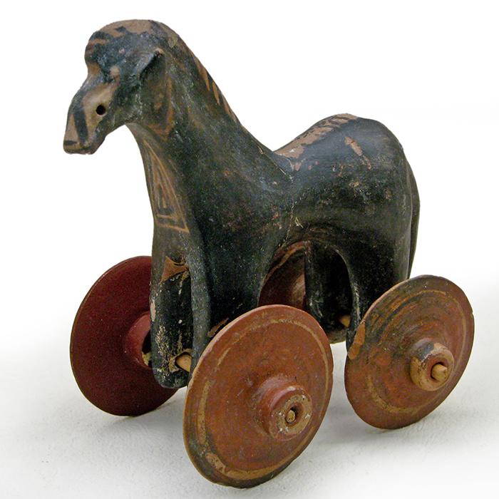 Cabalo sobre rodas de terracota. Xoguete grego de 950-900 aC