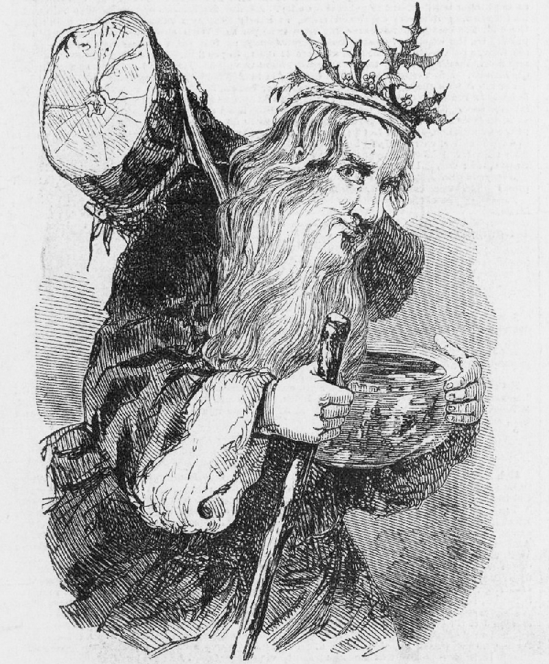 Father Christmas ou Pai Nadal co tronco Yule. Illustrated London News, 23 Dec 1848