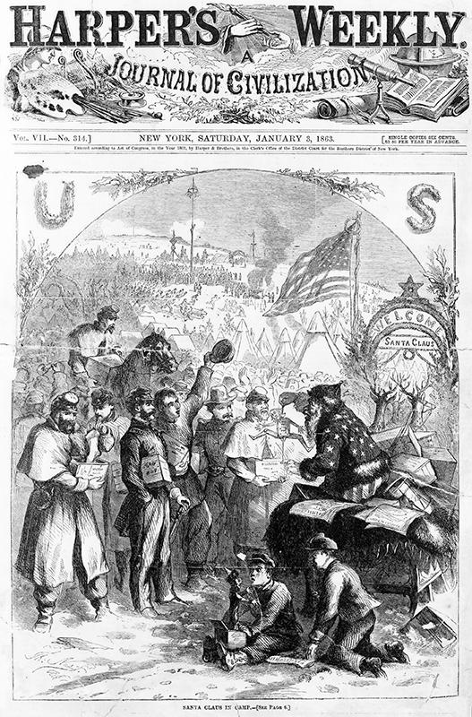 Primeira ilustración do Santa de Thomas Nast no Harper's Weekly do 5 de xaneiro de 1863.