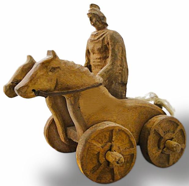 Guerreiro en carro de madeira. Xoguete da Roma antiga