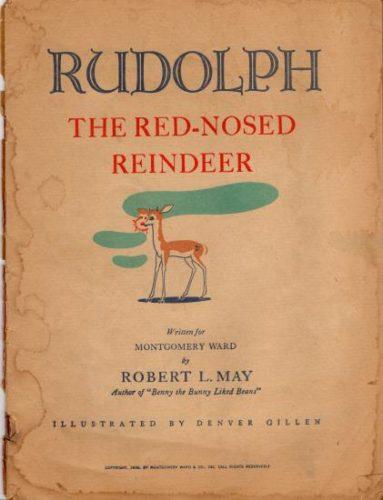 """Portada interior de """"Rudolph o reno do narís vermello"""", de Robert L. May para os almacéns Montgomery Ward. 1939."""