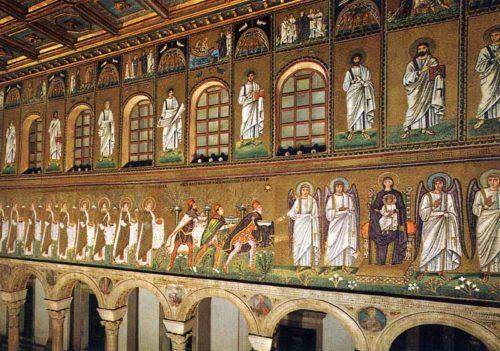 Primeira representación dos Reis Magos cos seus nomes Melchor, Gaspar e Baltasar. Mosaico bizantino da Igrexa de S. Apolinar o Novo de Rávena, s. VI
