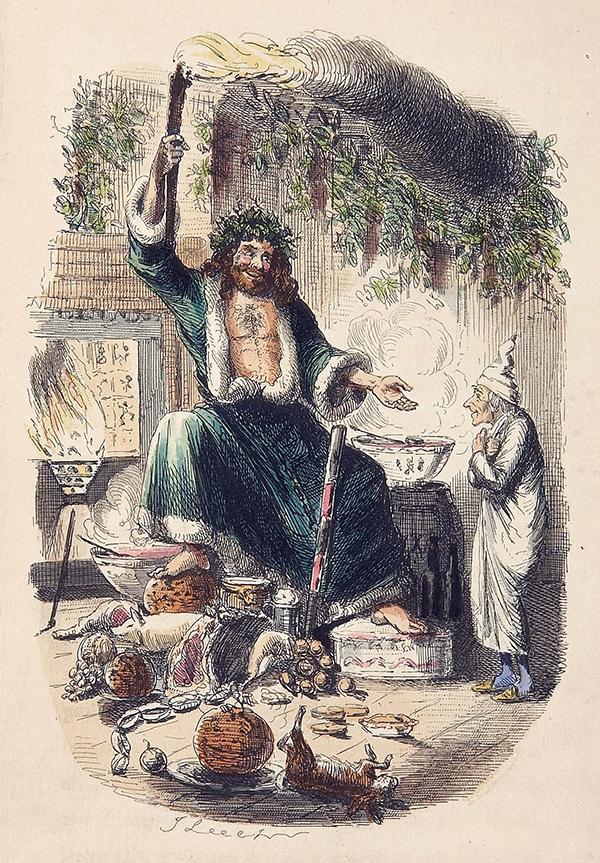 Gravado do Father Christmas de Canción de Nadal de Charles Dickens, 1843