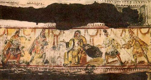 Catro reis magos nas catacumbas de Domitila en Roma. S. IV