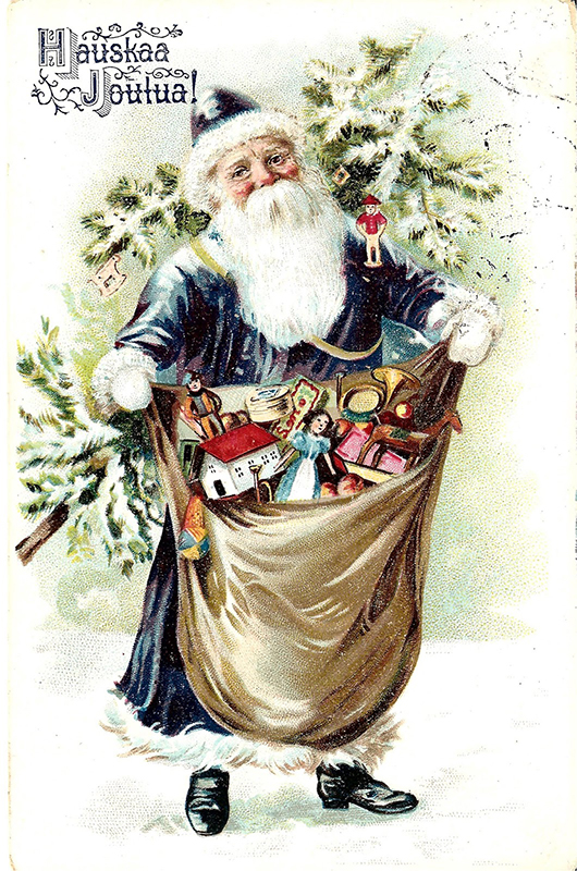 Postal navideña finlandesa cun Joulupukki vestido de azul