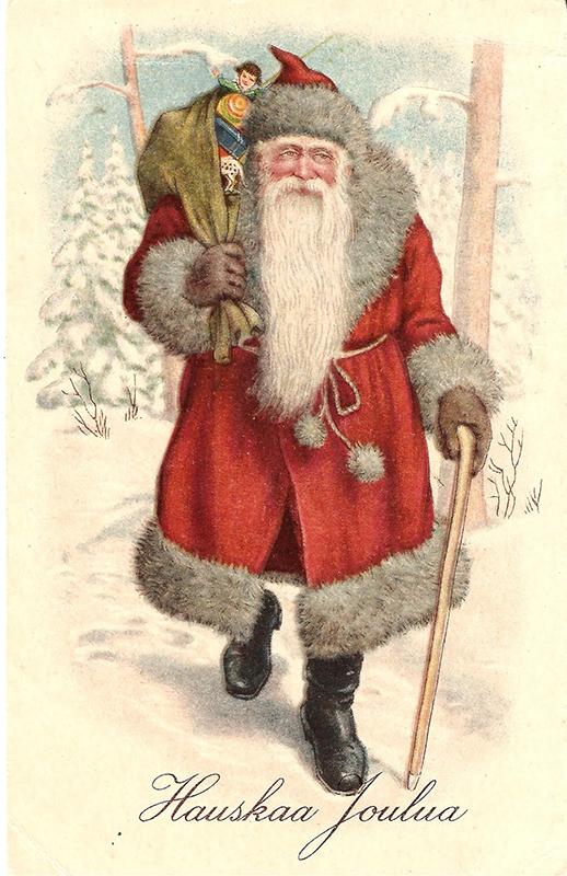 Postal navideña finlandesa cun Joulupukki vestido de vermello.