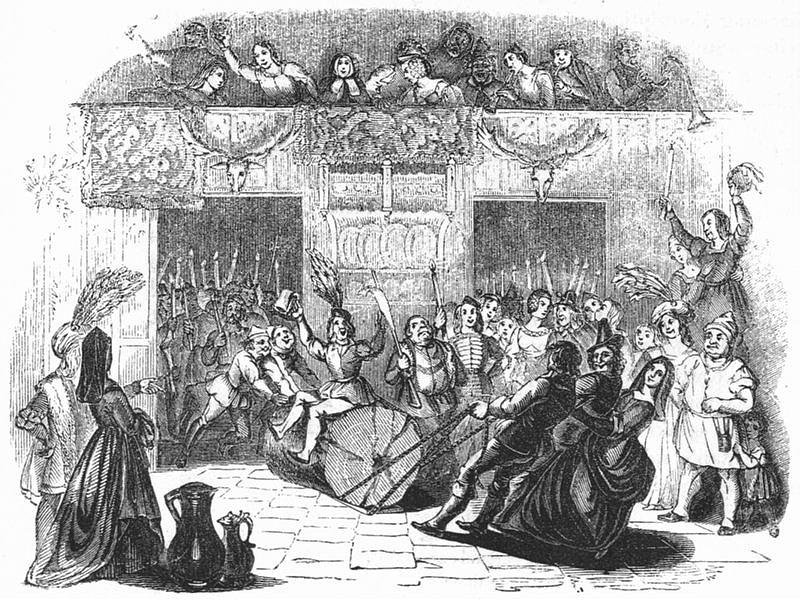 Gravado victoriano do Yule Log. Facíanse competicións das mellores toradas. 1845