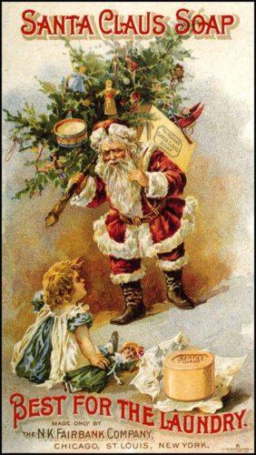 Anuncio de Xabrón de Santa Claus da N. K. Fairbank Company N. Y. 1880.