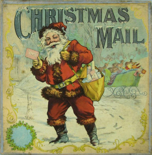 Xogo de mesa Christmas Mail. The J. Ottmann Lithography Company, 1890.
