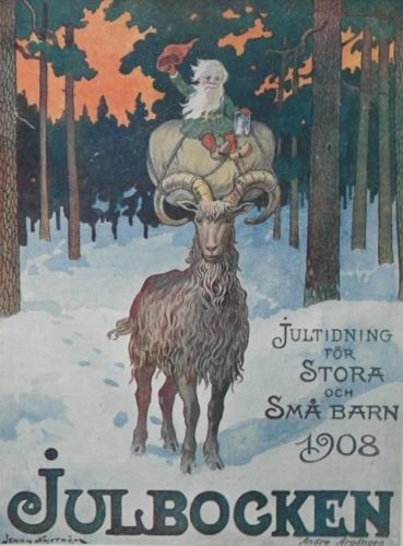 Ilustración de Jenny Nyström da cabra de Nadal montada polo gnomo Julenissen, 1908.