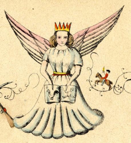 Ilustración de Christkind de 1845 con coroa, ás e nidia connotación feminina.