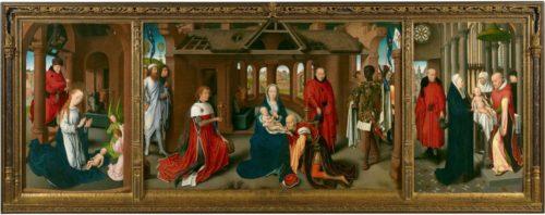 Tríptico da Adoración dos Magos, de Hans Memling, na que Baltasar é inequivocamente de raza subsahariana, 1470-72.