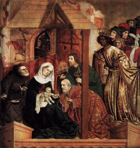 Primeira representación de Baltasar con pel escura. Retablo do Altar de Wurzach. 1437