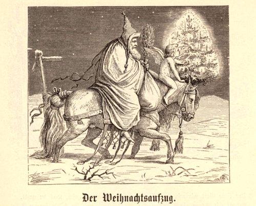 Curioso gravado de Christkind, con ás e máis ou menos asexuado, acompañado de Kenecht Ruprecht, 1850.