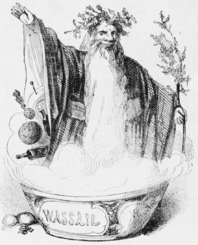 Old Fahter Christmas preparando o wassail no Illustrated London News, 1842.