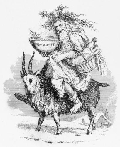 Father Christmas montado na cabra e portando o wassail, Robert Seymour, 1836.