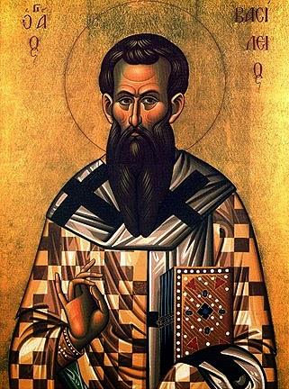 Icono que representa a Agios Vasilis (San Basilio o Grande) bispo.
