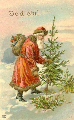 Nesta imaxe aparece Yule Father co rotulado God Jul, (Bo Nadal).