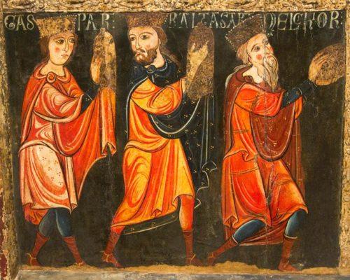 Fragmento da Táboa de Santa María de Avià, Barcelona, s. XIII. Xa aparecen como reis mais aínda manteñen o criterio representativo das idades do home